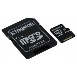 Carte mémoire Micro Secure Digital (micro SD) Kingston 64 Go SDXC Class 10 avec adaptateur