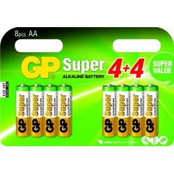 Pack de 8 piles Alcaline GP Batteries Super type AA 1,5V (R06)