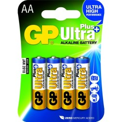 Pack de 4 piles Alcaline GP Batteries Ultra Plus type AA 1,5V (LR6)