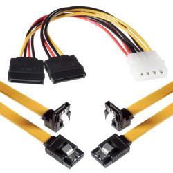 Câbles SATA 3 Poppstar de 2x 0,5 m de long avec chacun 1x fiche Clip droit à 1X fiche SATA coudé de 90 degrés