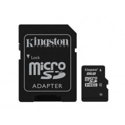 Carte mémoire Micro Secure Digital (micro SD) Kingston 8 Go SDHC Class 4 avec adaptateur