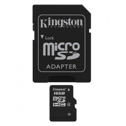 Carte mémoire Micro Secure Digital (micro SD) Kingston 16 Go SDHC Class 4 avec adaptateur