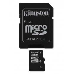 Carte mémoire Micro Secure Digital (micro SD) Kingston 16 Go SDHC Class 10 avec adaptateur