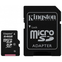 Kingston MicroSD Card 64GB avec adaptateur SDHC (Class 10)