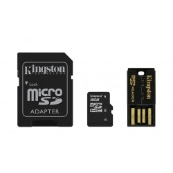 Carte mémoire Micro Secure Digital (micro SD) Kingston 8 Go SDHC Class 4 avec adaptateurs SD et USB