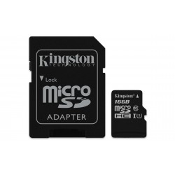 Carte mémoire Micro Secure Digital (micro SD) Kingston Canvas Select 16 Go SDHC Class 10 avec adaptateur