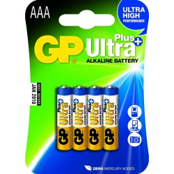 Pack de 4 piles Alcaline GP Batteries Ultra Plus type AAA 1,5V (R03)